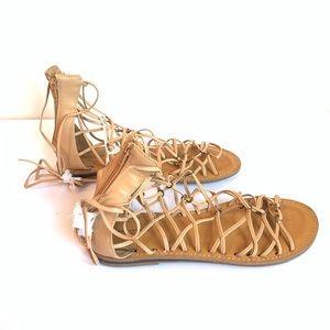 American Eagle Nude Flat Gladiator Sandals